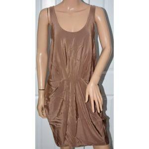 Thakoon Nude Tan Drape Front sleeveless tank Dress